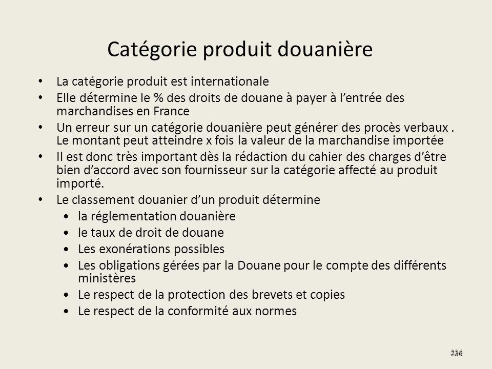 Catégorie produit douanière