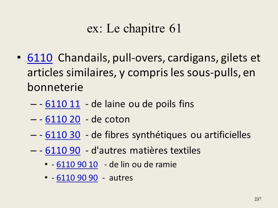 ex: Le chapitre 61 6110 Chandails, pull-overs, cardigans, gilets et articles similaires, y compris les sous-pulls, en bonneterie.
