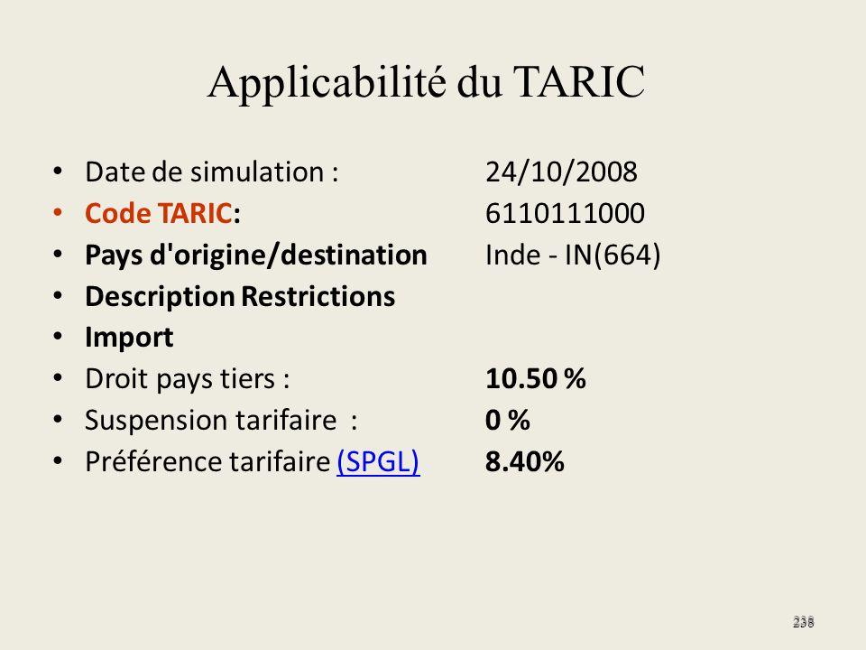 Applicabilité du TARIC