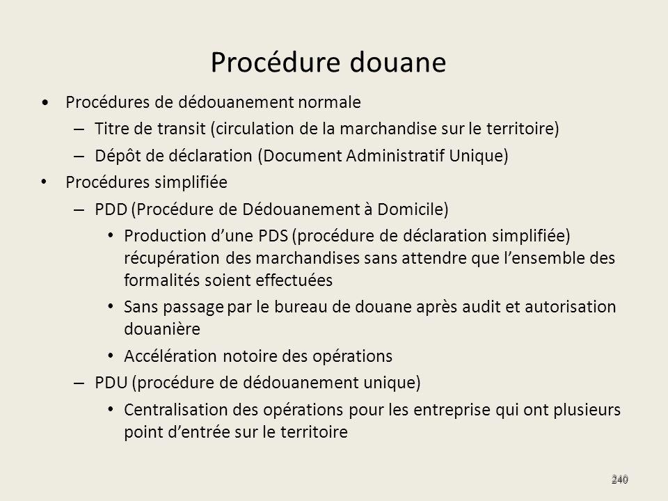 Procédure douane Procédures de dédouanement normale