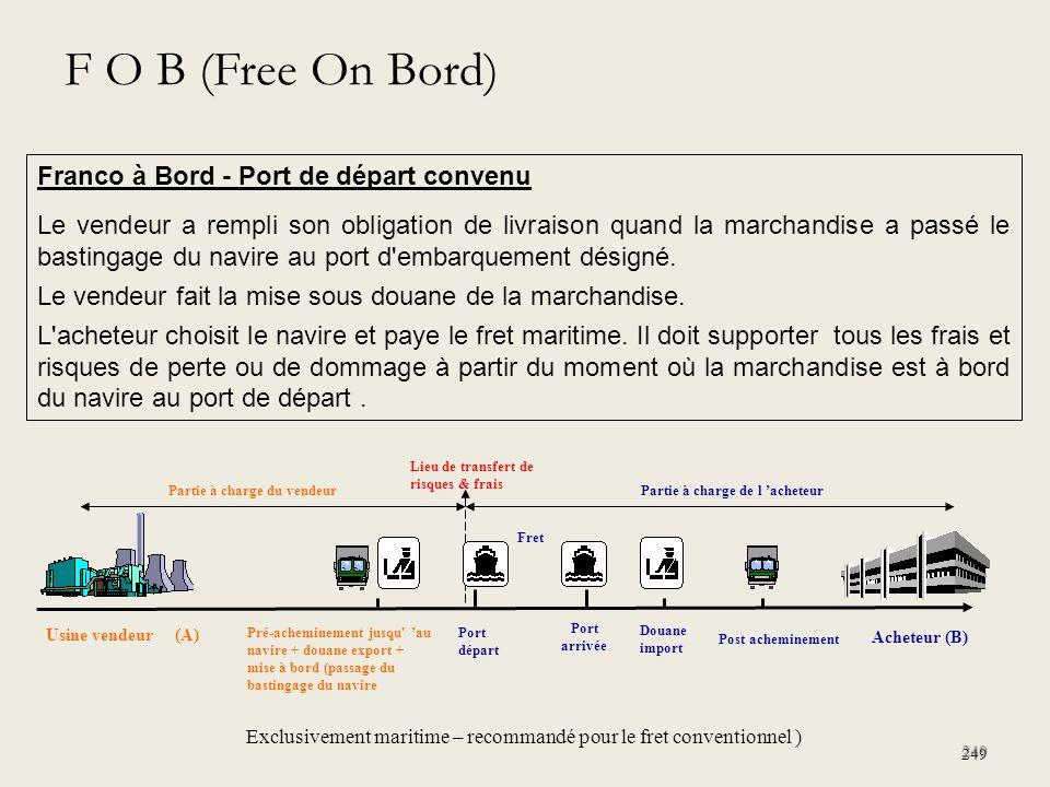 F O B (Free On Bord) Franco à Bord - Port de départ convenu