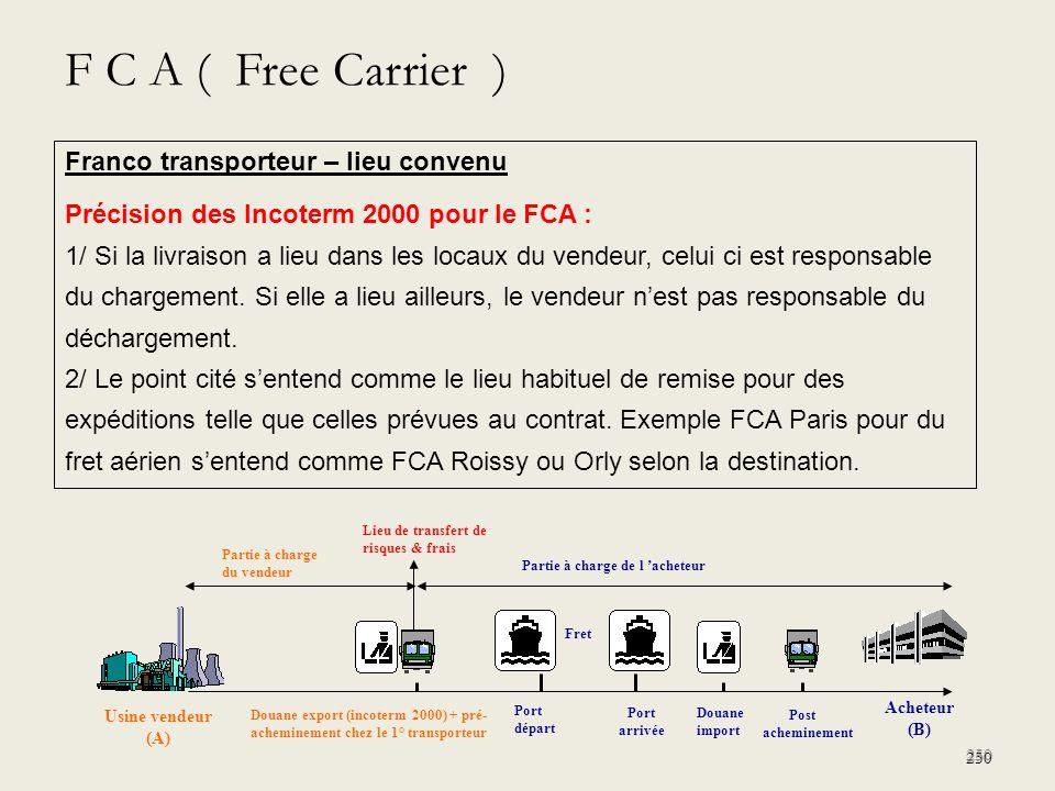F C A ( Free Carrier ) Franco transporteur – lieu convenu