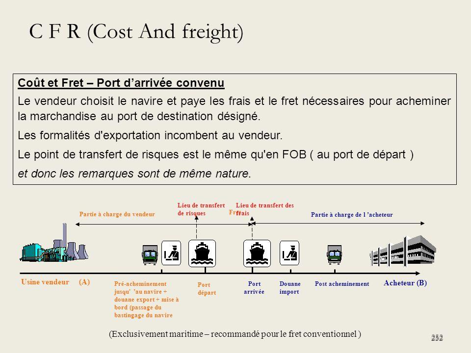 C F R (Cost And freight) Coût et Fret – Port d'arrivée convenu