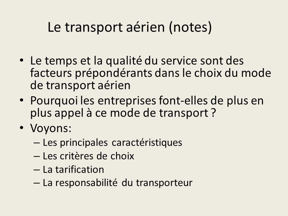 Le transport aérien (notes)