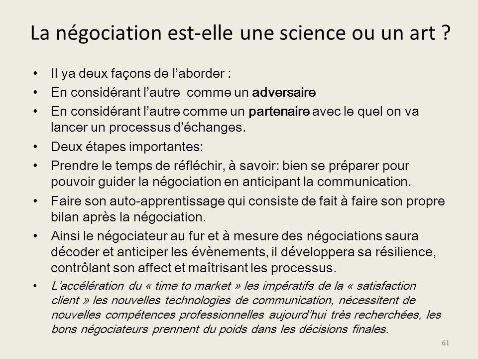La négociation est-elle une science ou un art