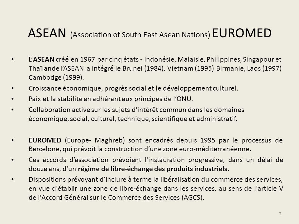 ASEAN (Association of South East Asean Nations) EUROMED