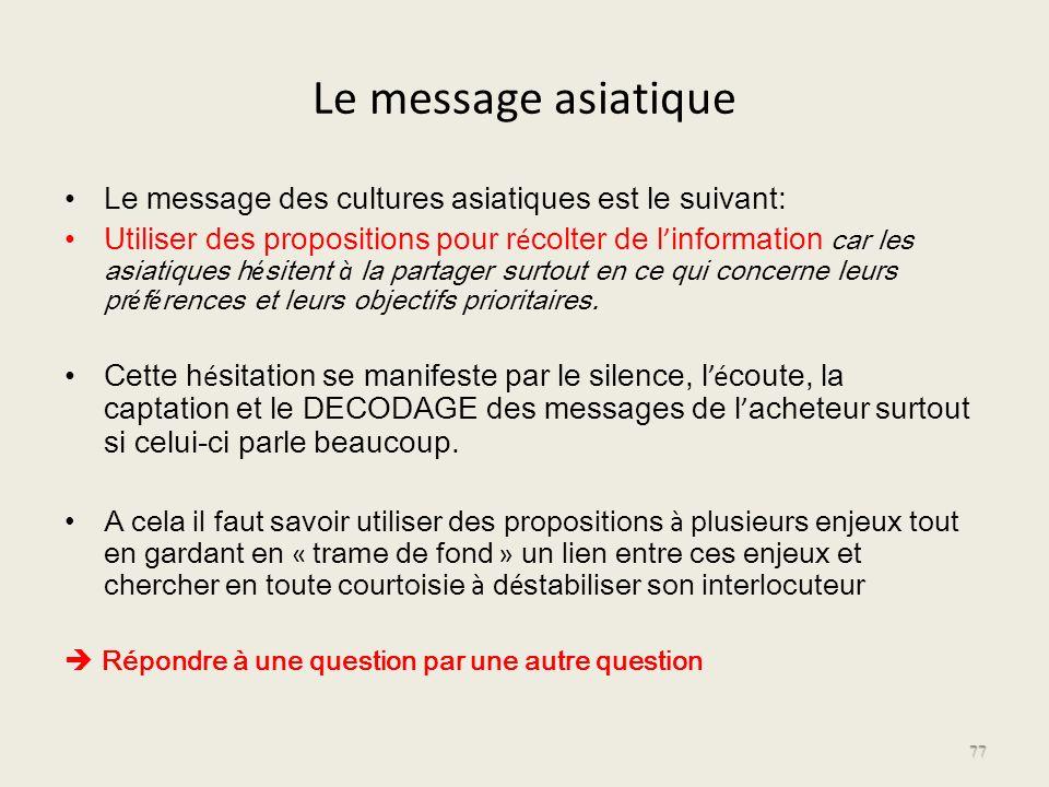 Le message asiatique Le message des cultures asiatiques est le suivant: