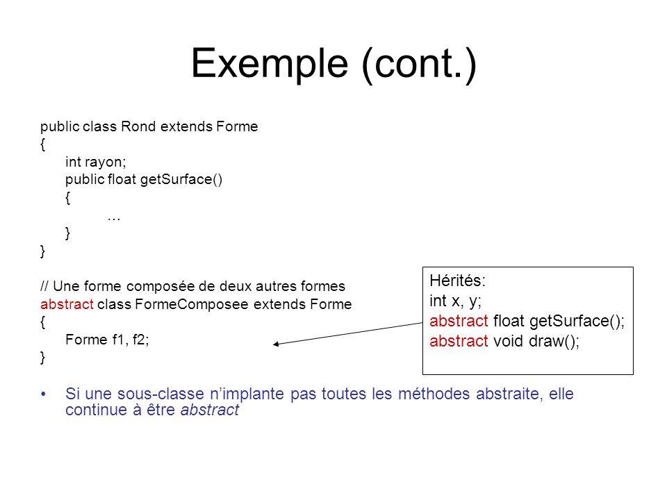 Exemple (cont.) public class Rond extends Forme. { int rayon; public float getSurface() … } // Une forme composée de deux autres formes.