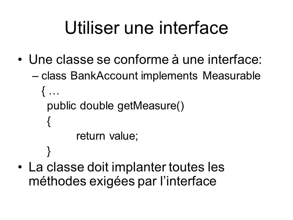 Utiliser une interface