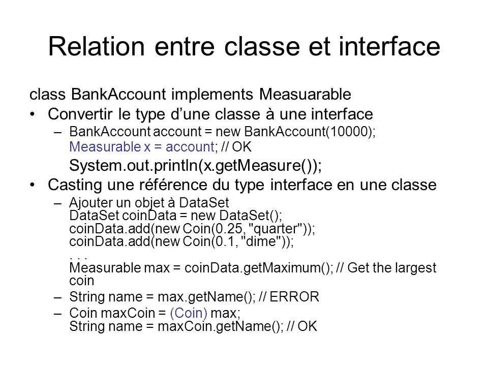 Relation entre classe et interface