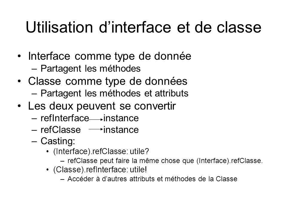 Utilisation d'interface et de classe