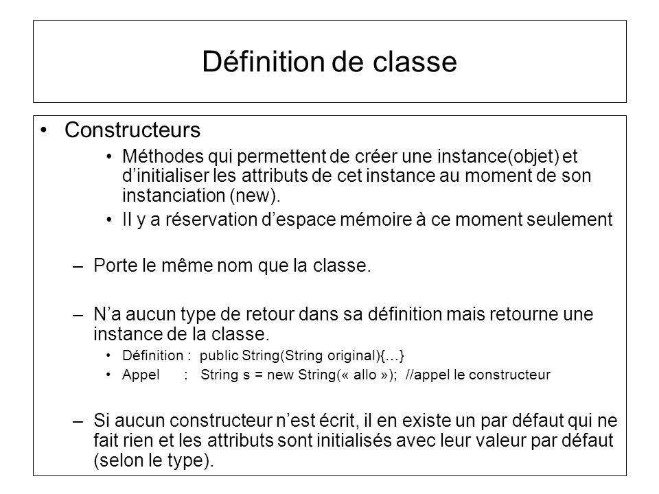 Définition de classe Constructeurs