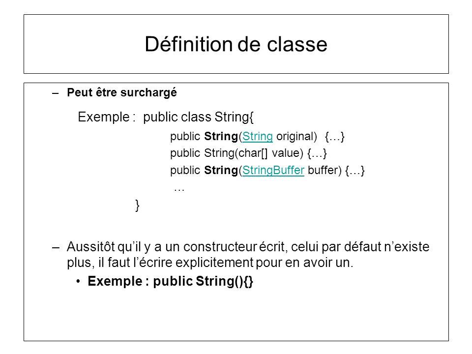 Définition de classe Exemple : public class String{ }