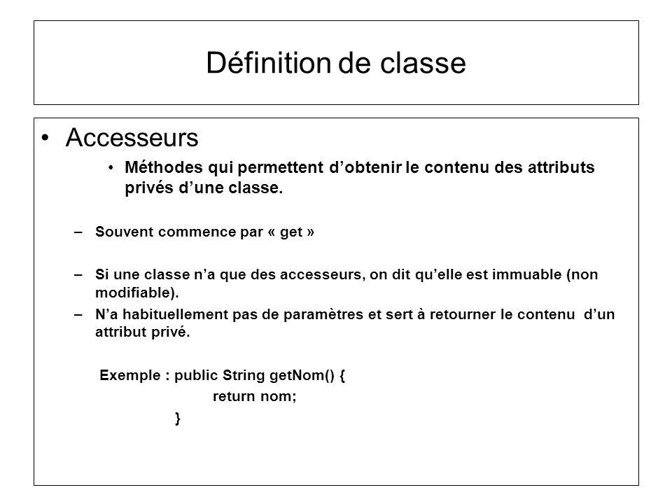 Définition de classe Accesseurs