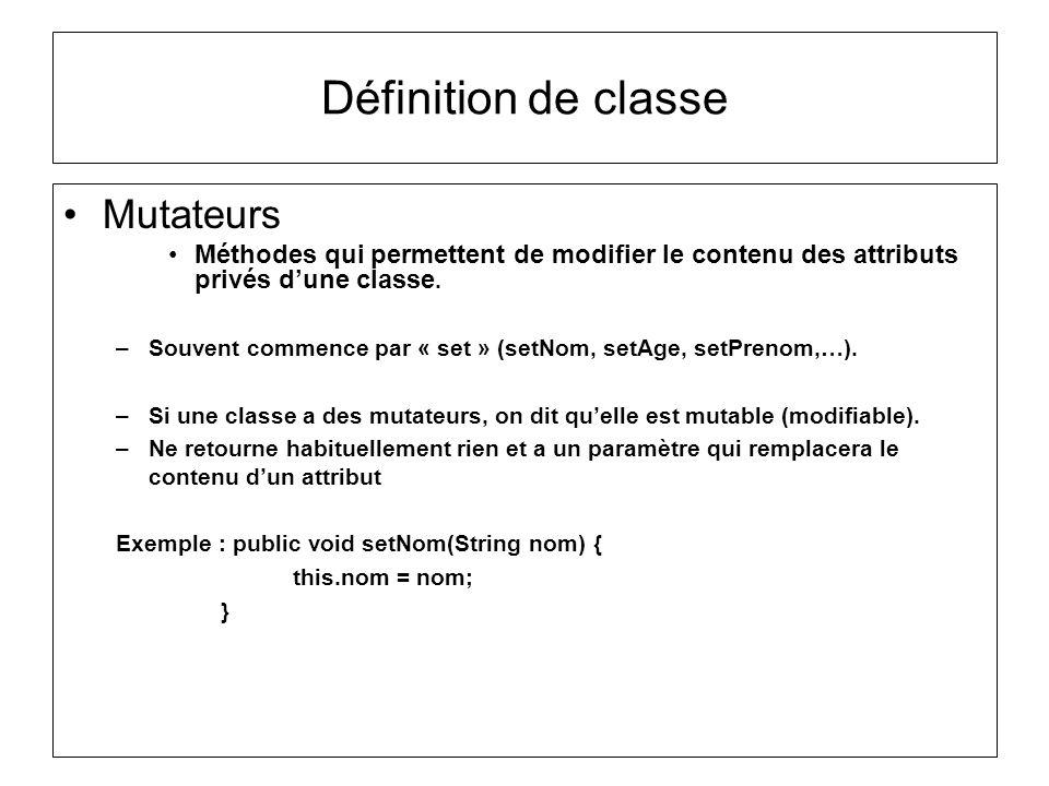 Définition de classe Mutateurs
