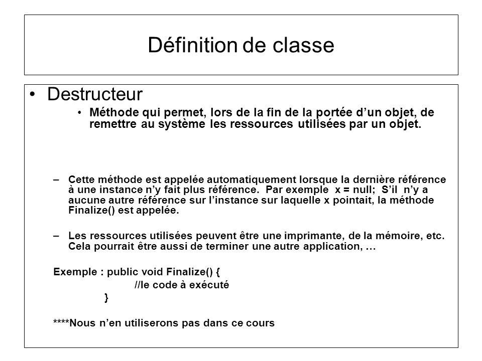 Définition de classe Destructeur