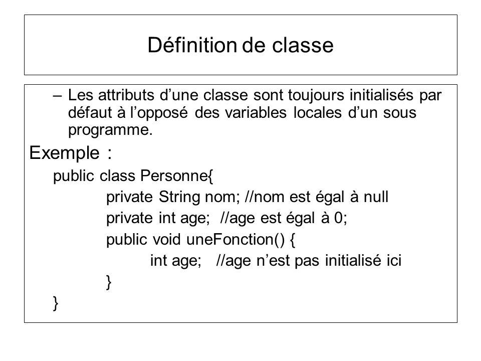 Définition de classe Exemple :