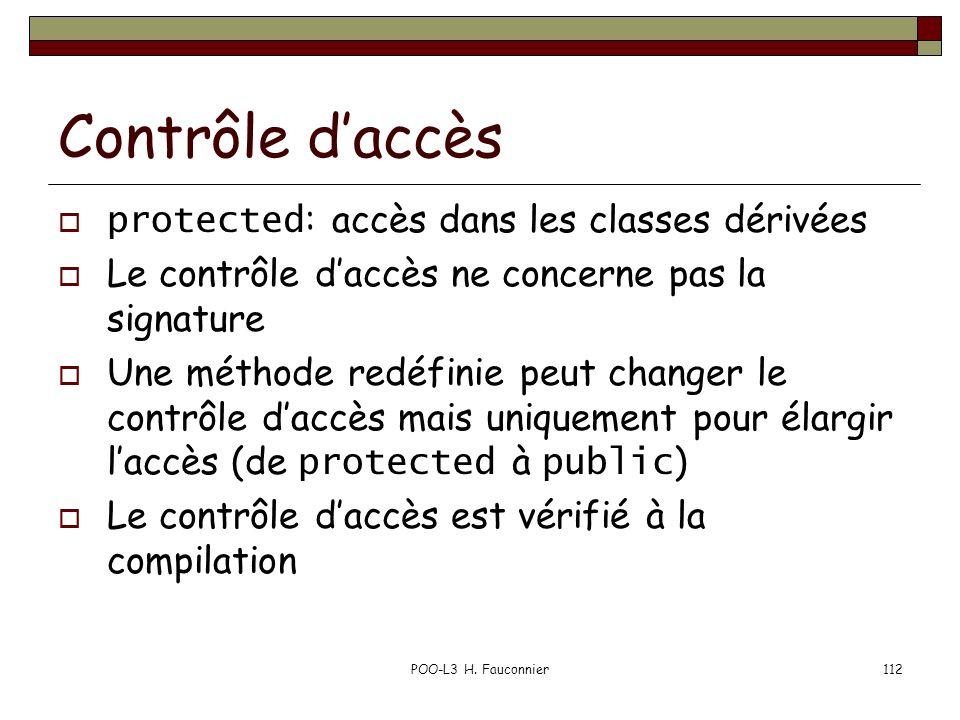Contrôle d'accès protected: accès dans les classes dérivées