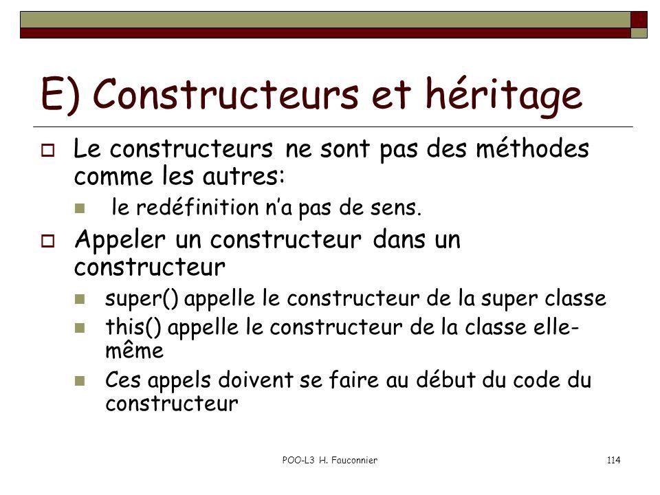 E) Constructeurs et héritage