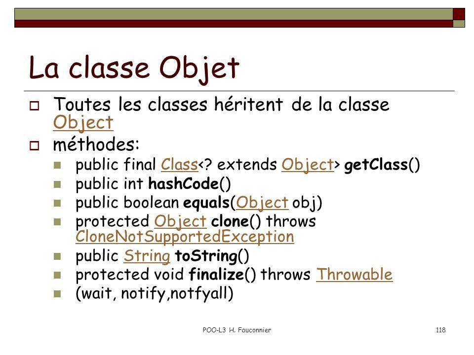 La classe Objet Toutes les classes héritent de la classe Object