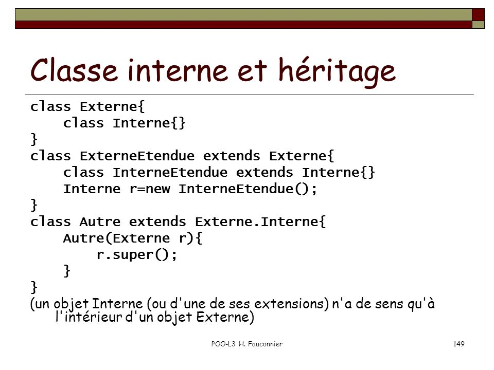 Classe interne et héritage