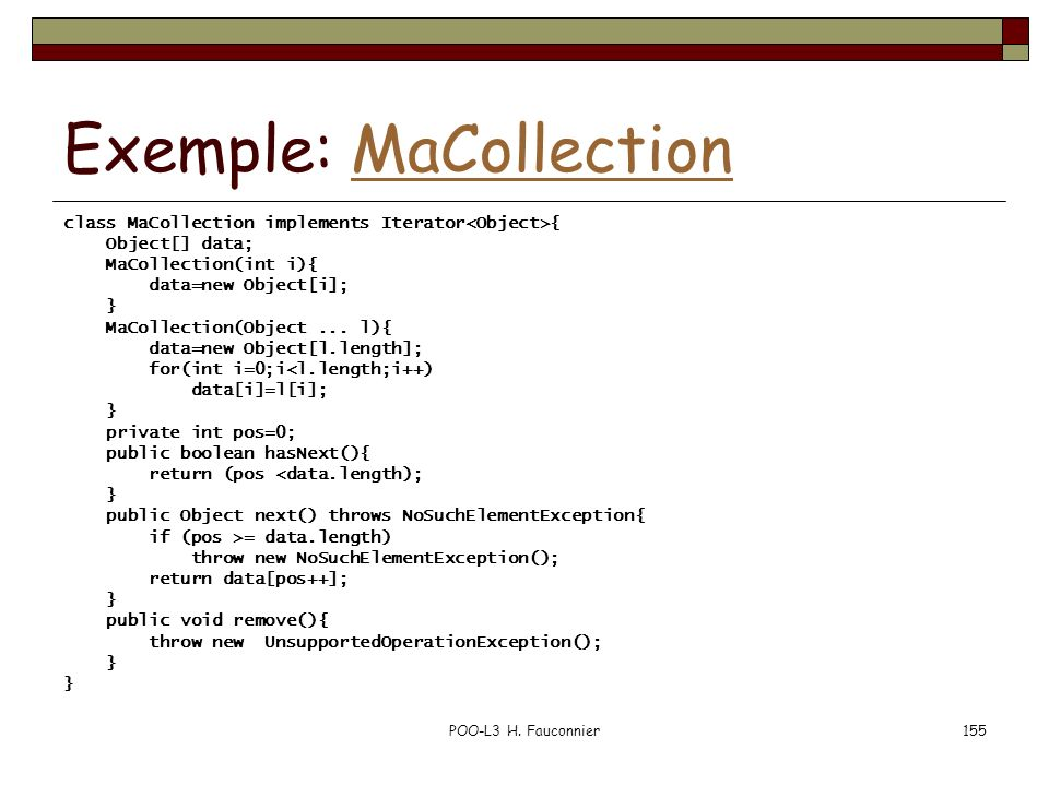 Exemple: MaCollection