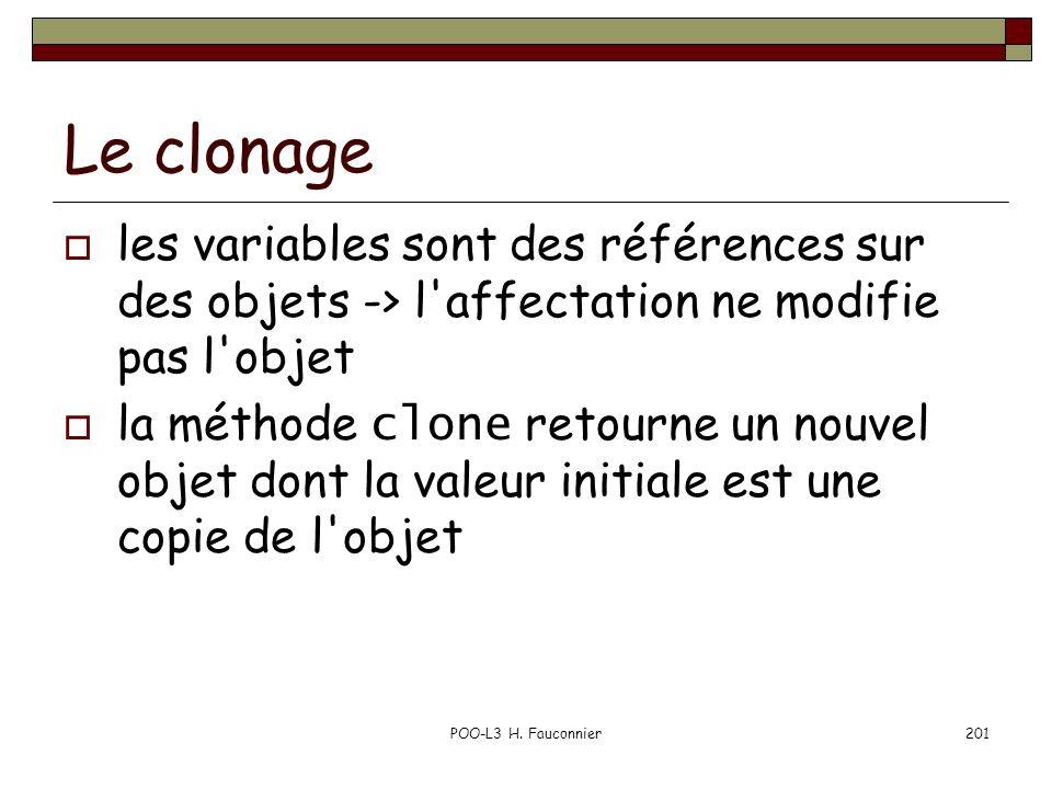 Le clonage les variables sont des références sur des objets -> l affectation ne modifie pas l objet.