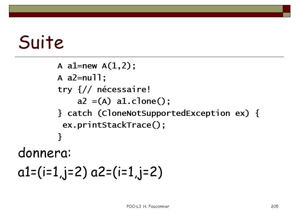 Suite donnera: a1=(i=1,j=2) a2=(i=1,j=2) A a1=new A(1,2); A a2=null;