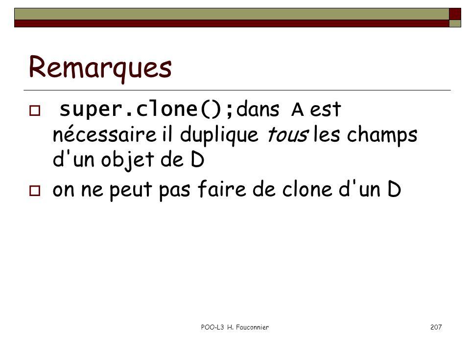 Remarques super.clone();dans A est nécessaire il duplique tous les champs d un objet de D. on ne peut pas faire de clone d un D.