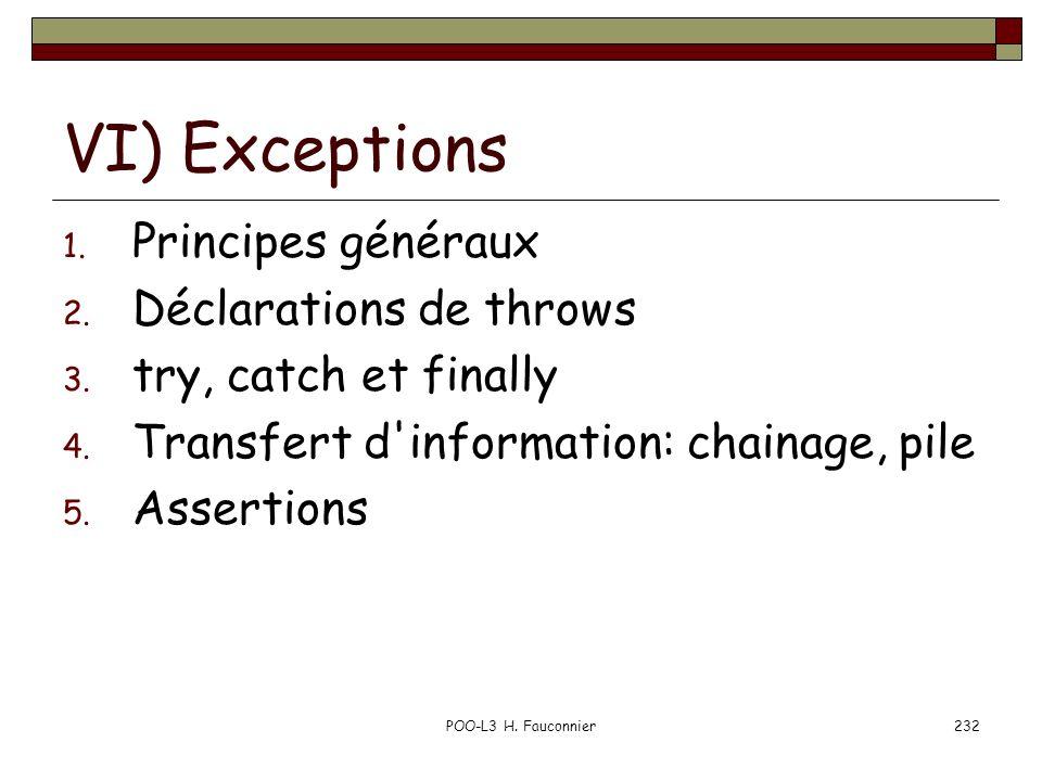 VI) Exceptions Principes généraux Déclarations de throws