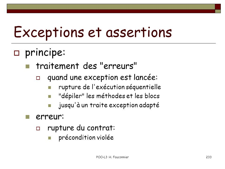 Exceptions et assertions
