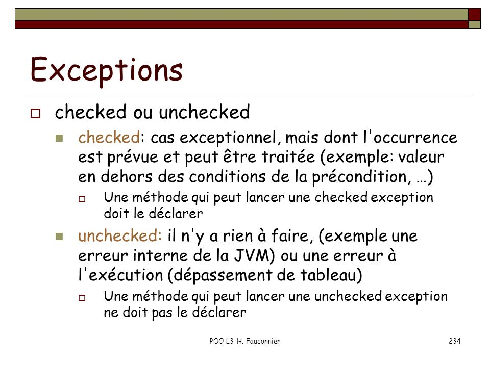 Exceptions checked ou unchecked