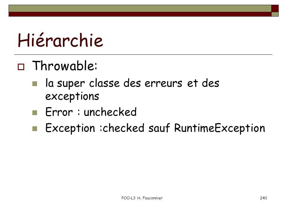 Hiérarchie Throwable: la super classe des erreurs et des exceptions