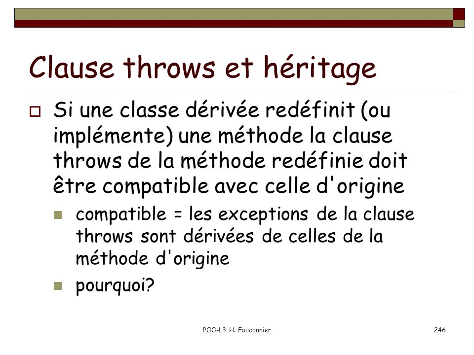 Clause throws et héritage