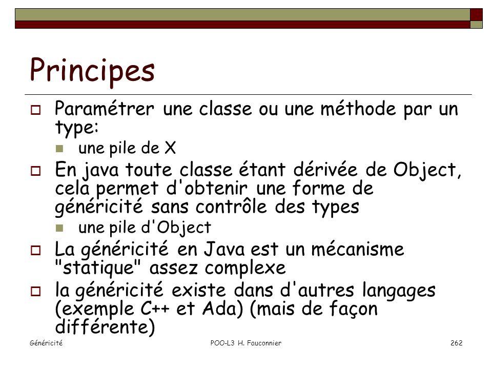 Principes Paramétrer une classe ou une méthode par un type:
