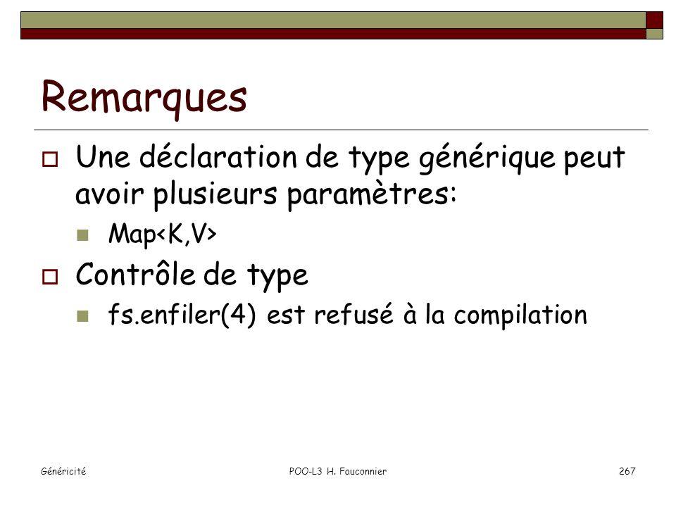 Remarques Une déclaration de type générique peut avoir plusieurs paramètres: Map<K,V> Contrôle de type.