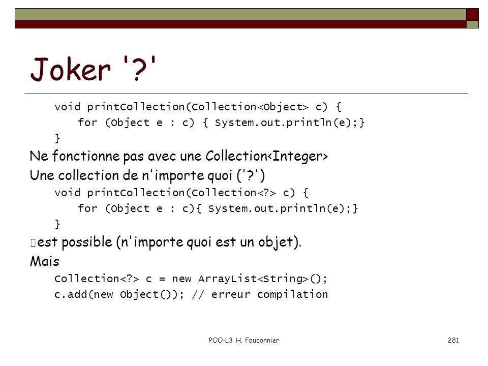 Joker Ne fonctionne pas avec une Collection<Integer>