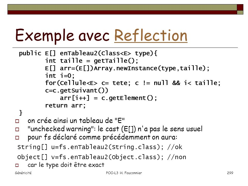 Exemple avec Reflection