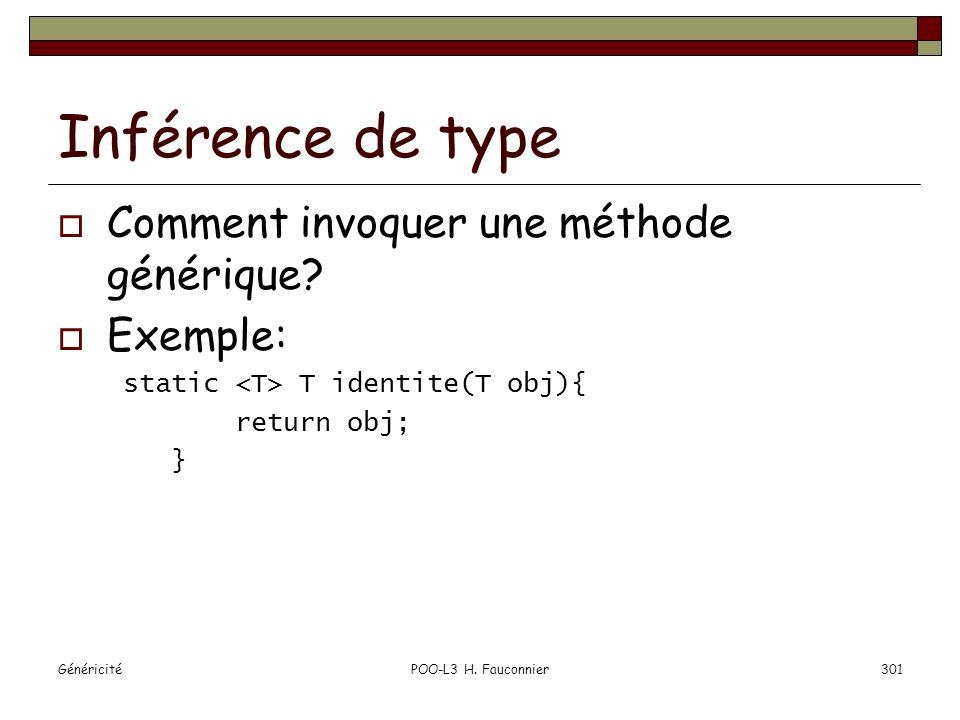 Inférence de type Comment invoquer une méthode générique Exemple: