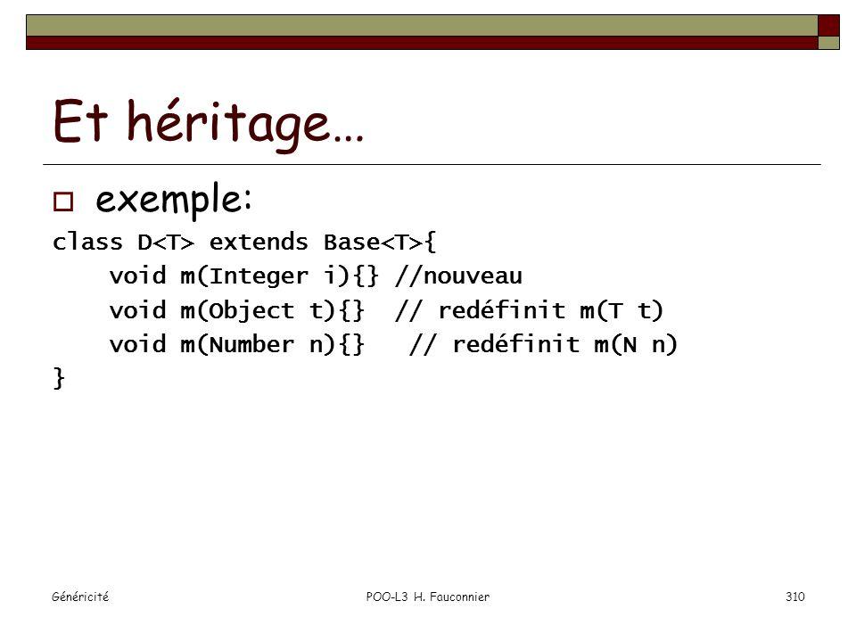 Et héritage… exemple: class D<T> extends Base<T>{