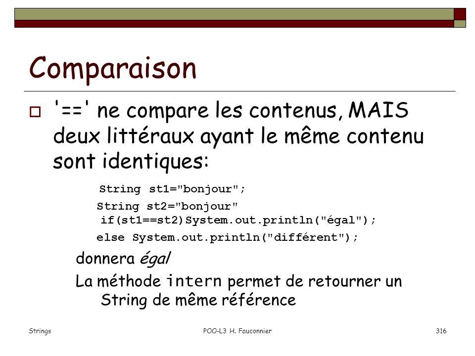 Comparaison == ne compare les contenus, MAIS deux littéraux ayant le même contenu sont identiques: