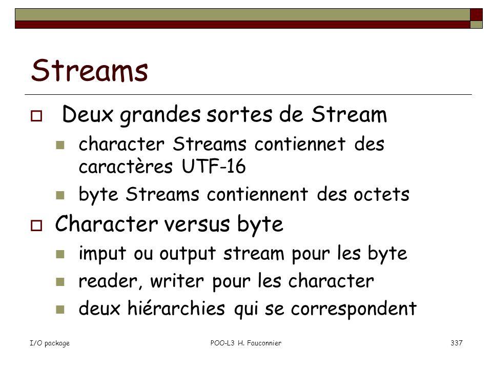 Streams Deux grandes sortes de Stream Character versus byte