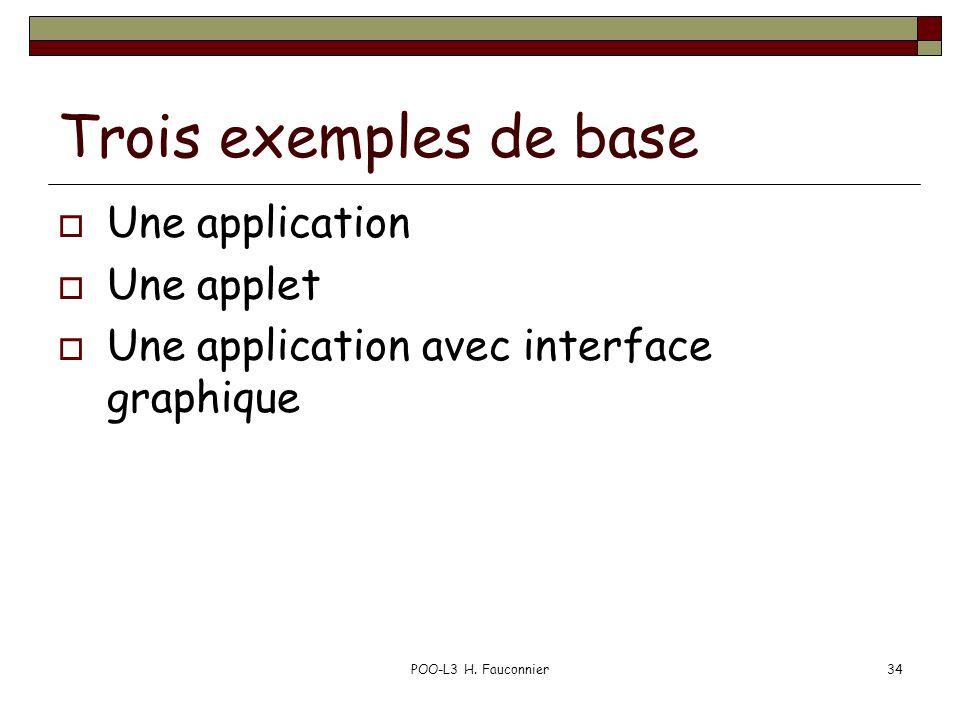 Trois exemples de base Une application Une applet