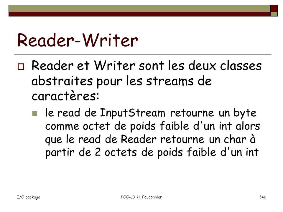 Reader-Writer Reader et Writer sont les deux classes abstraites pour les streams de caractères: