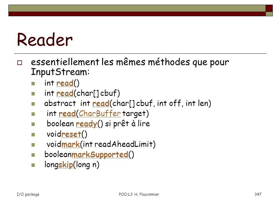 Reader essentiellement les mêmes méthodes que pour InputStream: