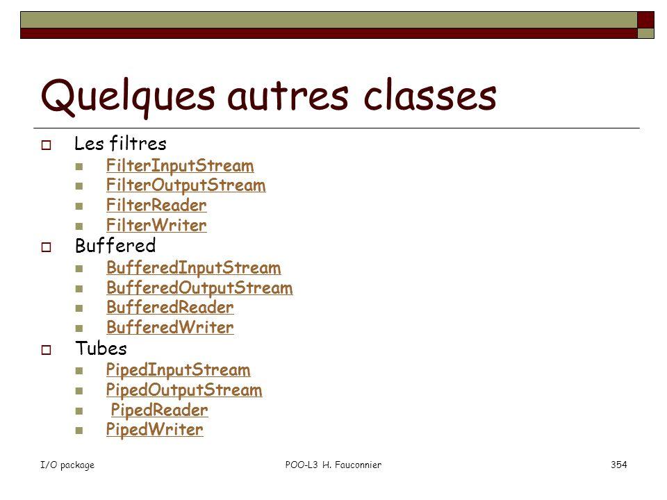 Quelques autres classes