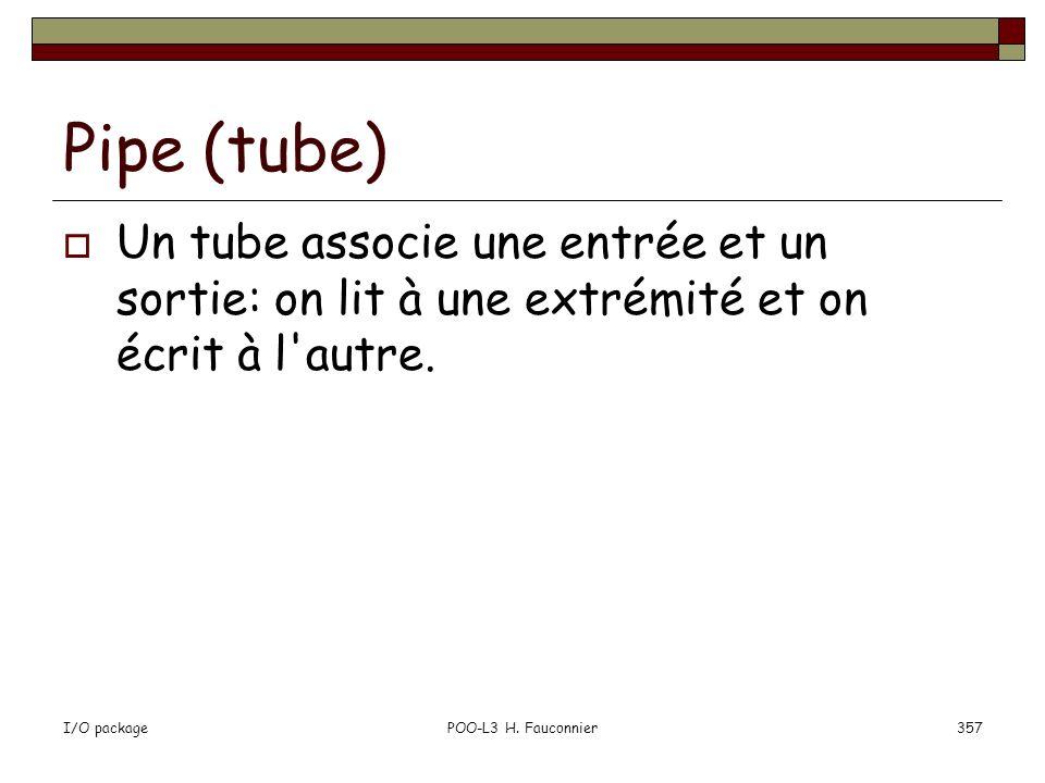 Pipe (tube) Un tube associe une entrée et un sortie: on lit à une extrémité et on écrit à l autre. I/O package.