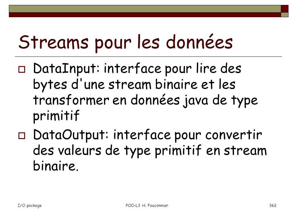 Streams pour les données