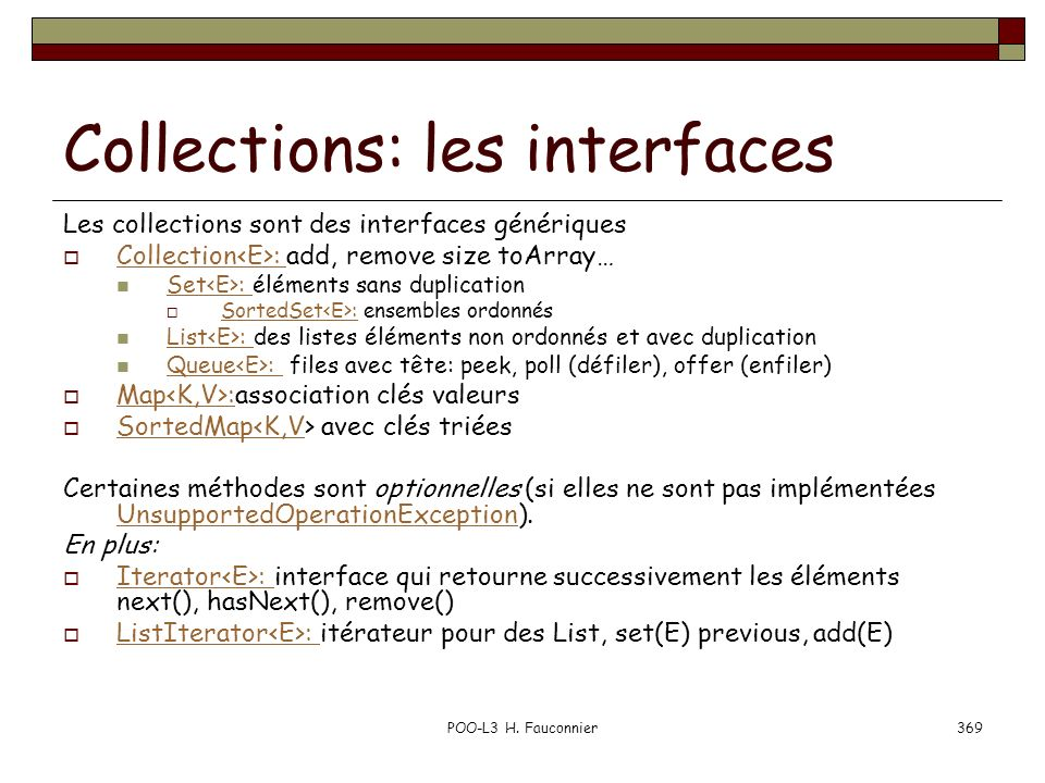 Collections: les interfaces