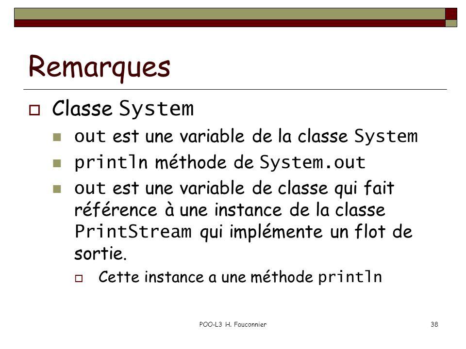 Remarques Classe System out est une variable de la classe System